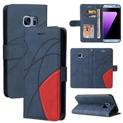 Luxury Two-color Stitching Leather Wallet Case Cover for Samsung Galaxy S7 Edge s7edge - Blue