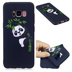 Bamboo Panda 3D Embossed Relief Black Soft Back Cover for Samsung Galaxy S8