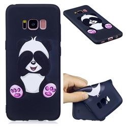 Lovely Panda 3D Embossed Relief Black Soft Back Cover for Samsung Galaxy S8