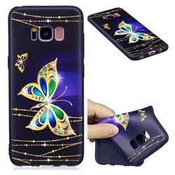 Golden Shining Butterfly 3D Embossed Relief Black Soft Back Cover for Samsung Galaxy S8