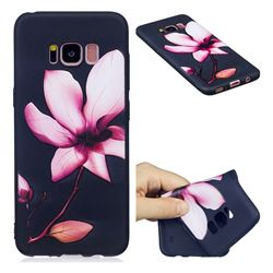 Lotus Flower 3D Embossed Relief Black Soft Back Cover for Samsung Galaxy S8