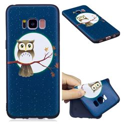 Moon and Owl 3D Embossed Relief Black Soft Back Cover for Samsung Galaxy S8