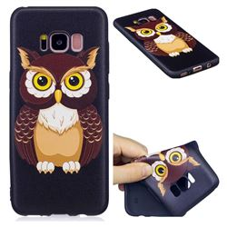 Big Owl 3D Embossed Relief Black Soft Back Cover for Samsung Galaxy S8