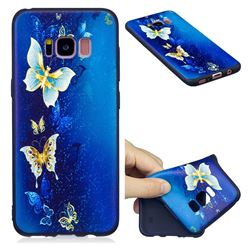 Golden Butterflies 3D Embossed Relief Black Soft Back Cover for Samsung Galaxy S8