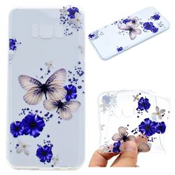 Blue Butterfly Flowers Super Clear Soft TPU Back Cover for Samsung Galaxy S8