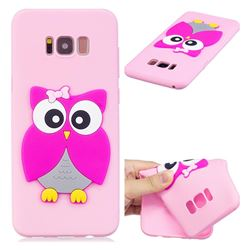 Pink Owl Soft 3D Silicone Case for Samsung Galaxy S8