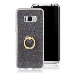 Luxury Soft TPU Glitter Back Ring Cover with 360 Rotate Finger Holder Buckle for Samsung Galaxy S8 - Black