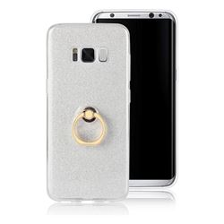 Luxury Soft TPU Glitter Back Ring Cover with 360 Rotate Finger Holder Buckle for Samsung Galaxy S8 - White