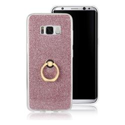 Luxury Soft TPU Glitter Back Ring Cover with 360 Rotate Finger Holder Buckle for Samsung Galaxy S8 - Pink