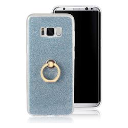 Luxury Soft TPU Glitter Back Ring Cover with 360 Rotate Finger Holder Buckle for Samsung Galaxy S8 - Blue