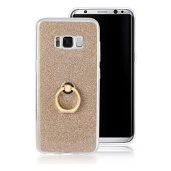 Luxury Soft TPU Glitter Back Ring Cover with 360 Rotate Finger Holder Buckle for Samsung Galaxy S8 - Golden