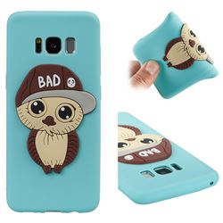 Bad Boy Owl Soft 3D Silicone Case for Samsung Galaxy S8 - Sky Blue