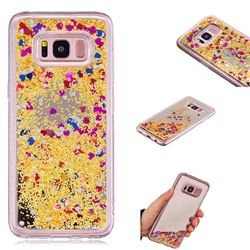 Glitter Sand Mirror Quicksand Dynamic Liquid Star TPU Case for Samsung Galaxy S8 - Yellow