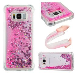 Dynamic Liquid Glitter Sand Quicksand TPU Case for Samsung Galaxy S8 - Pink Love Heart