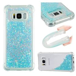 Dynamic Liquid Glitter Sand Quicksand TPU Case for Samsung Galaxy S8 - Silver Blue Star