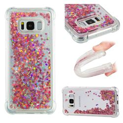 Dynamic Liquid Glitter Sand Quicksand TPU Case for Samsung Galaxy S8 - Rose Gold Love Heart