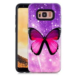 Glossy Butterfly Pattern 2 in 1 PC + TPU Glossy Embossed Back Cover for Samsung Galaxy S8