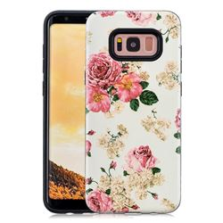 Rose Flower Pattern 2 in 1 PC + TPU Glossy Embossed Back Cover for Samsung Galaxy S8