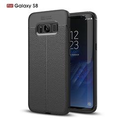 Luxury Auto Focus Litchi Texture Silicone TPU Back Cover for Samsung Galaxy S8 - Black
