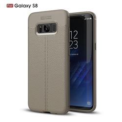 Luxury Auto Focus Litchi Texture Silicone TPU Back Cover for Samsung Galaxy S8 - Gray