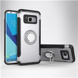 Armor Anti Drop Carbon PC + Silicon Invisible Ring Holder Phone Case for Samsung Galaxy S8 - Silver