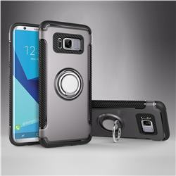 Armor Anti Drop Carbon PC + Silicon Invisible Ring Holder Phone Case for Samsung Galaxy S8 - Grey