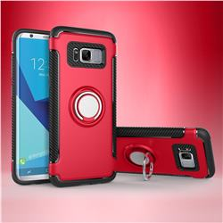 Armor Anti Drop Carbon PC + Silicon Invisible Ring Holder Phone Case for Samsung Galaxy S8 - Red