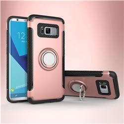 Armor Anti Drop Carbon PC + Silicon Invisible Ring Holder Phone Case for Samsung Galaxy S8 - Rose Gold