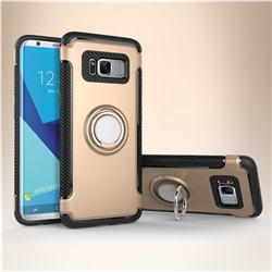 Armor Anti Drop Carbon PC + Silicon Invisible Ring Holder Phone Case for Samsung Galaxy S8 - Champagne