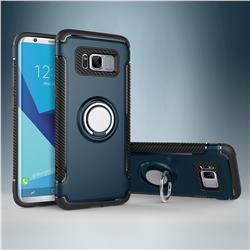 Armor Anti Drop Carbon PC + Silicon Invisible Ring Holder Phone Case for Samsung Galaxy S8 - Navy