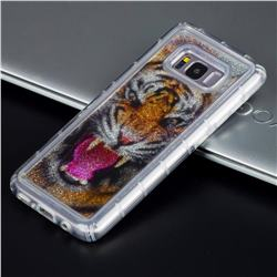 Tiger Glassy Glitter Quicksand Dynamic Liquid Soft Phone Case for Samsung Galaxy S8