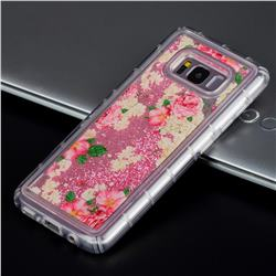 Rose Flower Glassy Glitter Quicksand Dynamic Liquid Soft Phone Case for Samsung Galaxy S8