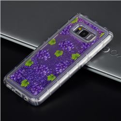 Purple Grape Glassy Glitter Quicksand Dynamic Liquid Soft Phone Case for Samsung Galaxy S8