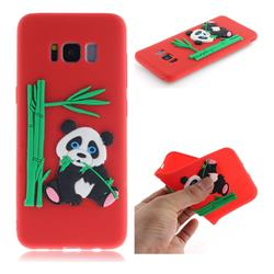 Panda Eating Bamboo Soft 3D Silicone Case for Samsung Galaxy S8 - Red