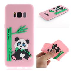 Panda Eating Bamboo Soft 3D Silicone Case for Samsung Galaxy S8 - Pink