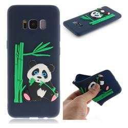 Panda Eating Bamboo Soft 3D Silicone Case for Samsung Galaxy S8 - Dark Blue