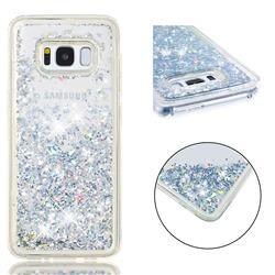 Dynamic Liquid Glitter Quicksand Sequins TPU Phone Case for Samsung Galaxy S8 - Silver