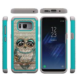 Sweet Gray Owl Studded Rhinestone Bling Diamond Shock Absorbing Hybrid Defender Rugged Phone Case Cover for Samsung Galaxy S8
