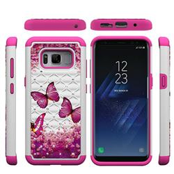 Rose Butterfly Studded Rhinestone Bling Diamond Shock Absorbing Hybrid Defender Rugged Phone Case Cover for Samsung Galaxy S8