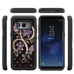 Peacock Flower Studded Rhinestone Bling Diamond Shock Absorbing Hybrid Defender Rugged Phone Case Cover for Samsung Galaxy S8