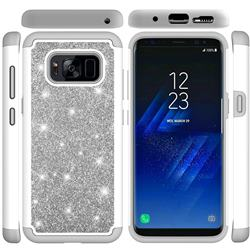 Glitter Rhinestone Bling Shock Absorbing Hybrid Defender Rugged Phone Case Cover for Samsung Galaxy S8 - Gray