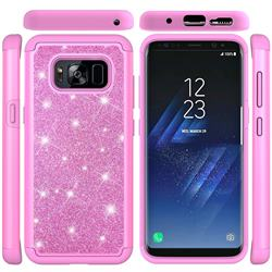 Glitter Rhinestone Bling Shock Absorbing Hybrid Defender Rugged Phone Case Cover for Samsung Galaxy S8 - Pink