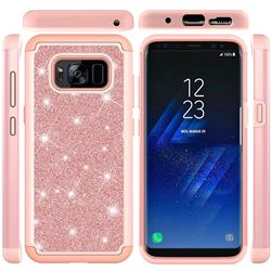 Glitter Rhinestone Bling Shock Absorbing Hybrid Defender Rugged Phone Case Cover for Samsung Galaxy S8 - Rose Gold