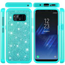 Glitter Rhinestone Bling Shock Absorbing Hybrid Defender Rugged Phone Case Cover for Samsung Galaxy S8 - Green