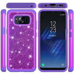 Glitter Rhinestone Bling Shock Absorbing Hybrid Defender Rugged Phone Case Cover for Samsung Galaxy S8 - Purple