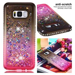 Diamond Frame Liquid Glitter Quicksand Sequins Phone Case for Samsung Galaxy S8 - Gray Pink