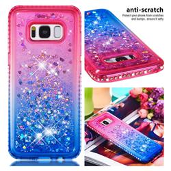 Diamond Frame Liquid Glitter Quicksand Sequins Phone Case for Samsung Galaxy S8 - Pink Blue