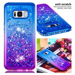Diamond Frame Liquid Glitter Quicksand Sequins Phone Case for Samsung Galaxy S8 - Blue Purple