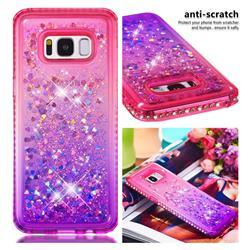 Diamond Frame Liquid Glitter Quicksand Sequins Phone Case for Samsung Galaxy S8 - Pink Purple