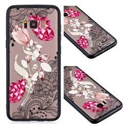 Tulip Lace Diamond Flower Soft TPU Back Cover for Samsung Galaxy S8